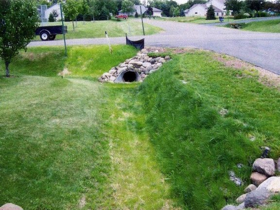 Green Retaining Wall Ditch Side